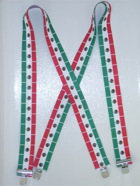"MEXICAN FLAG ON WHITE 2""X48"" Suspenders with 4 strong 1""x 1"" Grips and 2 Length Adjusters in the front, all in Stainless Steel. Entirely Stretchable Hand Washable and Hang to Dry Cotton/Polyester Material.                   UA220N48MXWH"