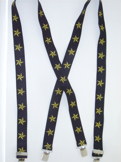 "YELLOW STARS ON BLACK BACKGROUND 1 1/2""x 48""  Suspenders with 4 strong 1""X1"" Grips and 2 Length Adjusters in the front, all in NICKEL FINISH. UB220N48NSKY"