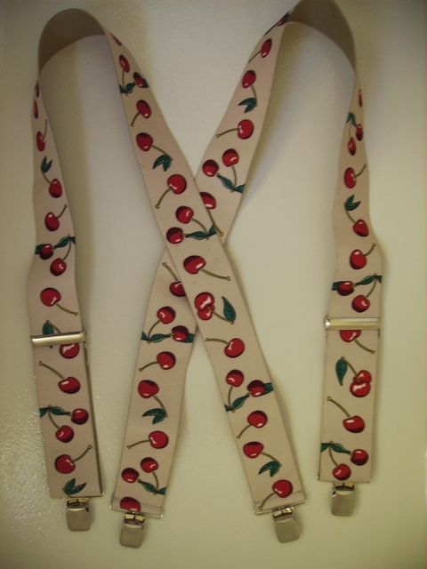 "CHERRIES BEIGE WITH RED  2""X48""  Suspenders with 4 strong 1""x 1"" Grips and 2 Length Adjusters in the front, all in NICKEL FINISH.   Entirely Stretchable Cotton/Polyester Material.          UA220N48CHBE"