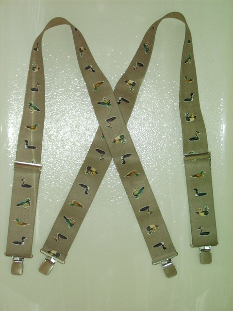 "DUCK VARIETY KHAKI  2""X48"" Suspenders with 4 strong 1""x 1"" Stainless Steel Grips and 2 Secure Stainless Steel Length Adjusters in the front.   Entirely Stretchable Hand Washable and Hang to Dry Cotton/Polyester Material.  UA220N48DUBE"