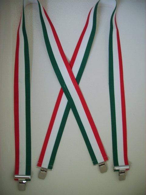 "ITALY RED, WHITE & GREEN STRIPES 1 1/2""X48"" Suspenders with 4 strong 1""x 1"" Grips and 2 Length Adjusters in the front, all in Stainless Steel. Entirely Stretchable Hand Washable and Hang to Dry Cotton/Polyester Material.                  UB220N48IT#2"