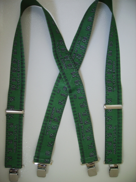 "YARDSTICK GREEN WITH GREY 2""X48"" Suspenders with 4 strong 1""x 1"" Grips and 2 Length Adjusters in the front, all in NICKEL FINISH.   Entirely Stretchable Cotton/Polyester Material.         Entirely Stretchable Cotton/Polyester Material.          UA250N48YGNG"