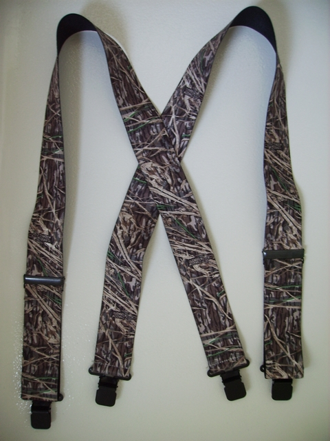 "CAMOUFLAGE 1 1/2"" wide SHADOW GRASS. Choose Your Size.  Suspenders with 2 Length Adjusters And 4 Grips. High Stainless Steel GRIPS and Two Secure Stainless Steel Adjusters.  Entirely Stretchable Hand Washable and Hang to Dry Cotton/Polyester Material.           X-UB220N-SHAD"