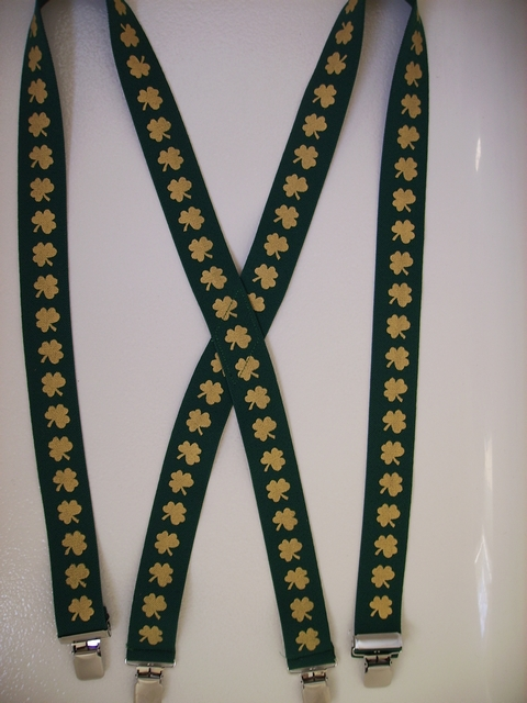 "GOLD SHAMROCKS ON GREEN BACKGROUND 1 1/2""x48""  Suspenders with 4 strong 1""X1"" Grips and 2 Length Adjusters in the front, all in NICKEL FINISH.  UB220N48SH#3"