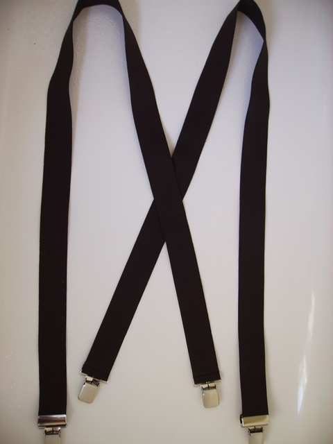 "1 1/8"" wide x 48"" long.""X"" Style. 1000 EACH COLOR AVAILABLE.  Fits People 5' 4"" to 6' 2"" tall.  Entirely Stretchable Polyester Suspenders with 4 Strong 1/2"" x 1"" CHROME GRIPS with Nylon Teeth and 2 CHROME Length Adjusters in the Front. The material is not as thick or plush as our normal Cotten/Polyester material, But still good quality and durable.         X-PC260NECON48-C2B"