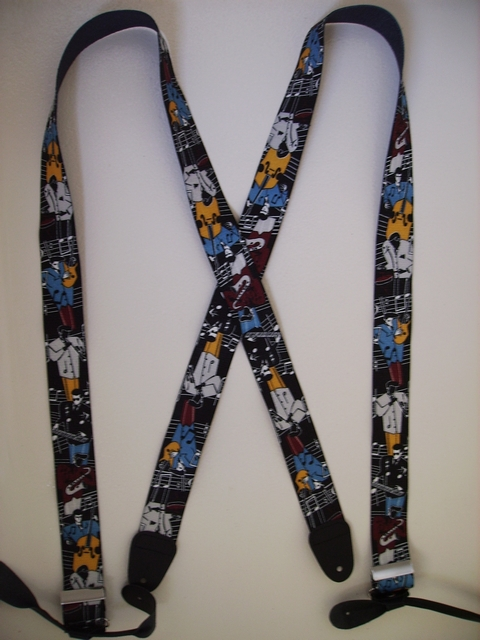 BUTTON-ON JAZZ MUSICIANS BLACK Suspenders 1 1/2 inches wide and 48 inches long UB120N48JZBK