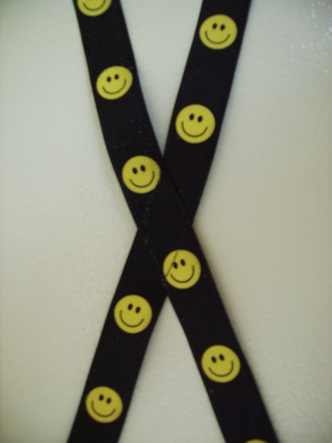 "Smiley Faces Black Background with Bright Yellow  1""X54""   Suspenders with 4 strong 1/2""x1"" Grips with nylon Teeth and 2 Length Adjusters in the front, all in high polish Chrome. UC260N54SMIL"