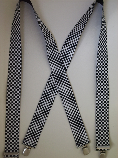 "CHECKERS BLACK AND WHITE 2""X48""  Suspenders with 4 strong 1""x 1"" Stainless Steel Grips and 2 Secure Stainless Steel Length Adjusters in the front. Entirely Stretchable Hand Washable and Hang to Dry Cotton/Polyester Material.       UA220N48CHEC"