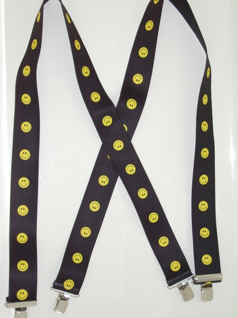 "Smiley Faces Black Background with Bright Yellow  1 1/2""X48"" Suspenders With 2 Strong Chrome Adjusters And 4 Grips. UB220N48SMIL"