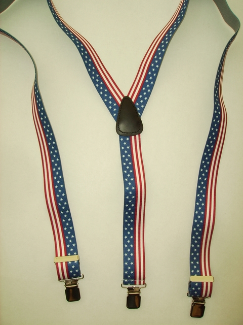 "U.S. FLAG ""Y"" Style 1 1/2"" X 48"" long. All Straps are stretchable Cotton/Polyester Hand Washable-Hang to Dry Material with Real Leather Patch, 3 Strong  1"" x 1"" High Polished  STAINLESS STEEL GRIPS  and Two Secure STAINLESS STEEL Adjusters.  Fits 4' 8"" to 6' 2""  Average Build.  Y-UB420N48US#2"