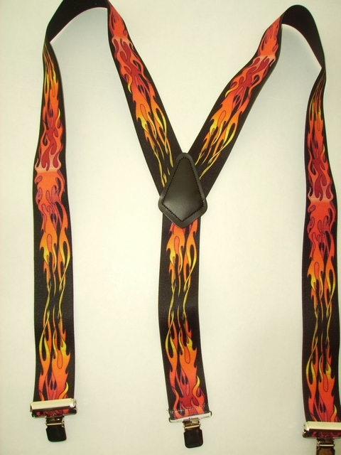 Mans suspeders red and orange flames Y style on sale.