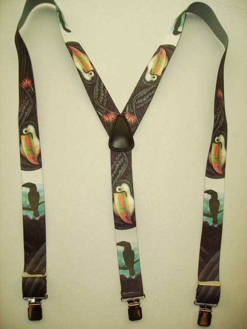 "WILD LIFE TOUCAN  ""Y"" Style 1 1/2"" X 48"" long. All Straps are stretchable Cotton/Polyester Hand Washable-Hang to Dry Material with Real Leather Patch, 3 Strong  1"" x 1"" High Polished  Stainless Steel GRIPS  and Two Secure Stainless Steel Adjusters.  Fits 4' 8"" to 6' 2""  Average Build. Y-UB420N48WLTC"