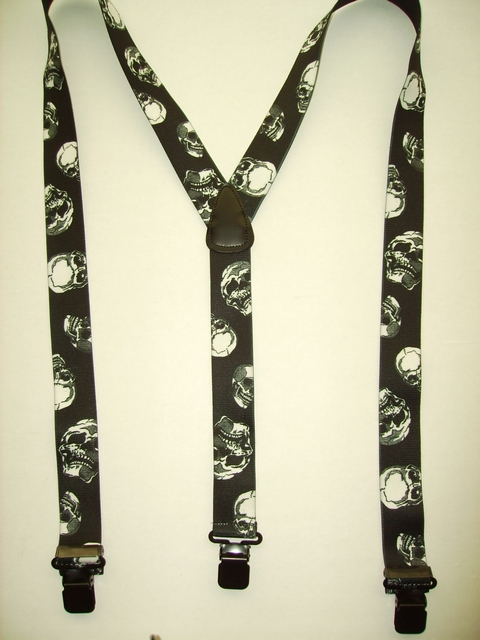 "1 1/2"" wide. ""Y"" Style. Choose from Assorted SIZES from 5' 1"" to  7' 4"" Height. (42"" to 60"" long Straps) Cotton/Polyester, hand washable-hang to dry Suspenders with Straps that are stretchable for entire length of the material with 3 Strong Stainless Steel 1""x 1"" Grips and 2 Stainless Steel Length Adjusters in the front.   SKULLS             Y-UA/B2200N-SKUL"