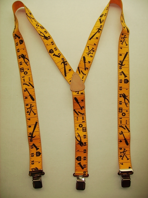 "TAPE MEASURE YELLOW WITH BLACK MARKINGS ""Y"" Style 1 1/2"" X 48"" long. All Straps are stretchable Cotton/Polyester Hand Washable-Hang to Dry Material with Real Leather Patch, 3 Strong  1"" x 1"" High Polished  NICKEL GRIPS  and Two Secure NICKEL Adjusters.  Fits 4' 8"" to 6' 2""  Average Build.  Y-UB420N48TMYE"