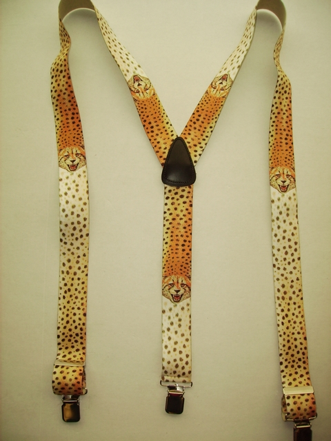 "WILD LIFE CHEETA  ""Y"" Style 1 1/2"" X 48"" long. All Straps are stretchable Cotton/Polyester Hand Washable-Hang to Dry Material with Real Leather Patch, 3 Strong  1"" x 1"" High Polished  Stainless Steel GRIPS  and Two Secure Stainless Steel Adjusters.  Fits 4' 8"" to 6' 2""  Average Build. Y-UB420N48WLCH"